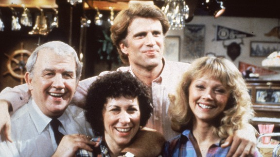 """Nicholas Colasanto (on the left) is seen here with his """"Cheers"""" co-stars Rhea Perlman, Ted Danson and Shelley Long. His character of Coach Ernie Pantusso was written out of the show as having also died when the actor succumbed to a heart attack in 1985."""