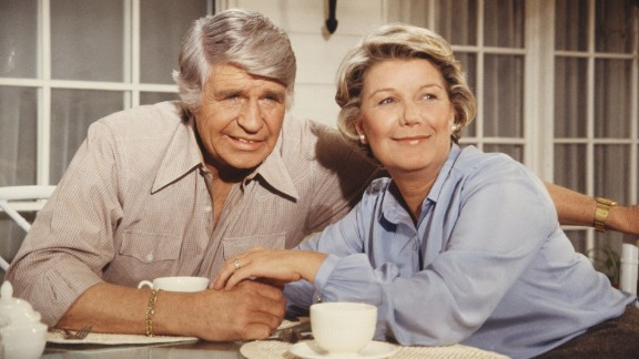 """When """"Dallas"""" actor Jim Davis died of cancer in 1981, his character Jock Ewing also died on the show. Here he is seen with his co-star, Barbara Bel Geddes, who played Eleanor Southworth """"Miss Ellie"""" Ewing."""