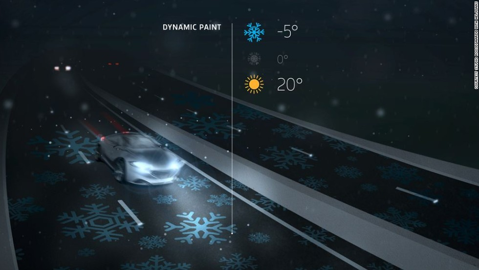 The designer also introduced 'Dynamic Paint', paint that becomes visible in response to temperature fluctuations. For example, ice-crystals become visible on the surface of the road to alert drivers that it's cold and slippery.