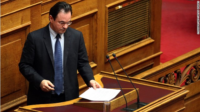 Former socialist Finance minister George Papaconstantinou at the Greek Parliament in Athens on January 17, 2013.