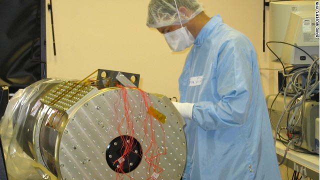 A scientist from the Rutherford Appleton Laboratory works on the high resolution video camera.