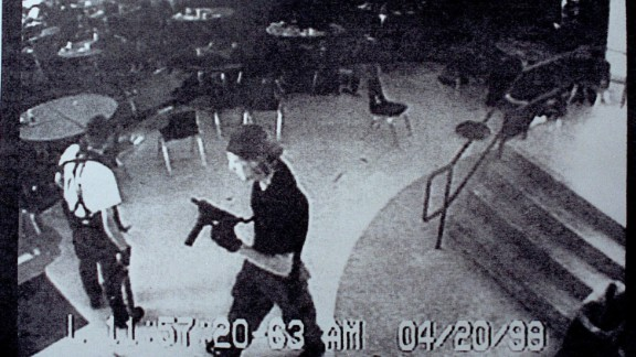 Eric Harris, left, and Dylan Klebold brought guns and bombs to Columbine High School in Littleton, Colorado, in April 1999. The students gunned down 13 and wounded 23 before killing themselves.