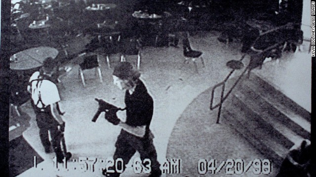Two students, Dylan Klebold, and Eric Harris, carrying guns and bombs, opened fire inside Columbine High School in Littleton, Colorado, on April 20, 1999