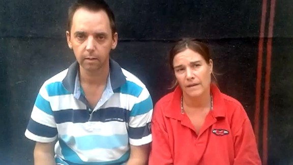A still image from a YouTube video uploaded on July 16, 2013 shows Dutch nationals Boudewijn Berendsen and Judith Spiegel.