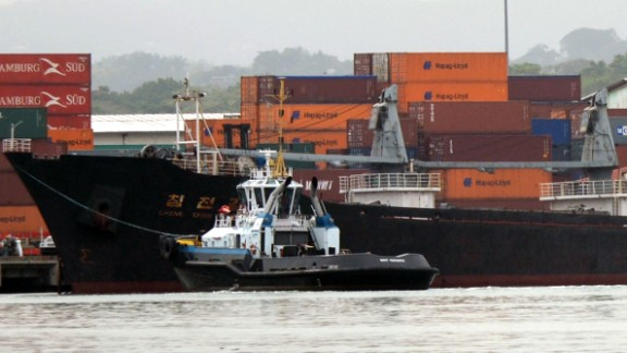 The vessel sits docked at Manzanillo terminal in Colon on July 16.