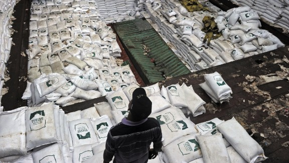 Sacks of sugar sit in the hold of the North Korean vessel Chong Chon Gang in Colon province, Panama, on July 16. The weapons were found under the tons of cargo.