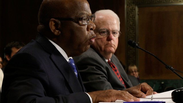 Rep John Lewis, D-Georgia, left, and Rep. Jim Sensenbrenner, R-Wisconsin, testify Wednesday before the Senate Judiciary Committee's hearing on the Voting Rights Act.