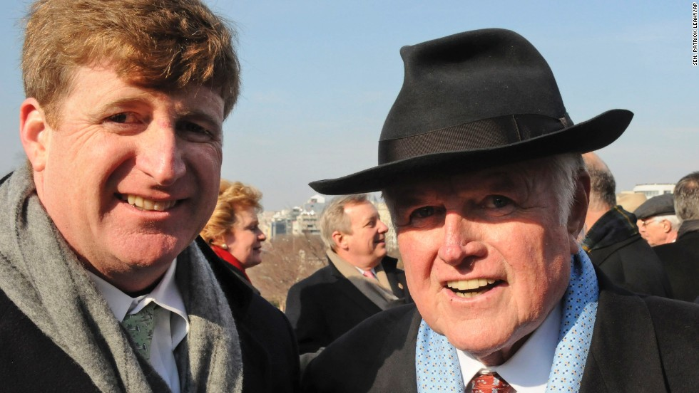 The Kennedy clan experienced a two-year absence on Capitol Hill beginning in 2011 with the departure of U.S. Rep. Patrick Kennedy, D-Rhode Island, shown here with his father, U.S. Sen. Edward Kennedy, at President Barack Obama's inauguration in 2009. The hiatus ended when U.S. Rep. Joseph P. Kennedy III, D-Massachusetts, was sworn in 2013. He is the son of former U.S. Rep. Joe Kennedy and the grandson of the late U.S. Sen. Robert Kennedy.