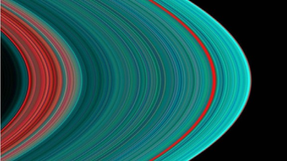 This view of Saturn's rings in ultraviolet light indicates ice toward the outer part of the rings.