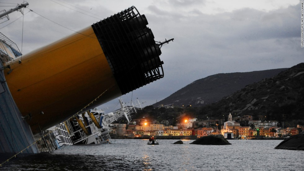 The Concordia, pictured on January 15, 2012, was on a Mediterranean cruise from Rome when it hit rocks off the coast of Giglio.