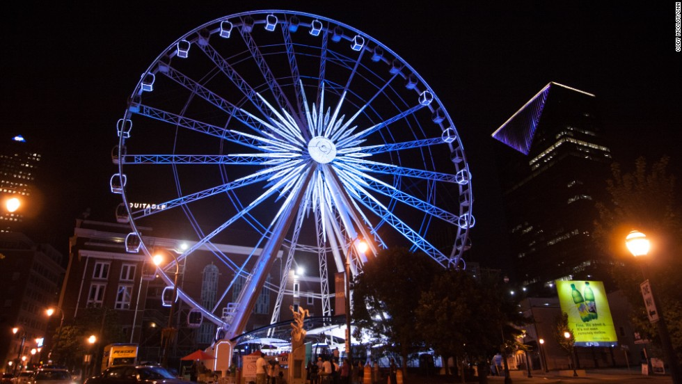 The new 200-foot SkyView Atlanta Ferris Wheel boasts 42 climate-controlled observation cabins that each hold six people. It also has a VIP cabin equipped with leather interior and glass flooring. It's in the heart of downtown Atlanta across from Centennial Olympic Park.