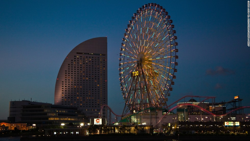 The Cosmo Clock 21 holds the title of having the world's largest clock. The wheel has 60 carriages that hold 480 people and a full rotation is 15 minutes.