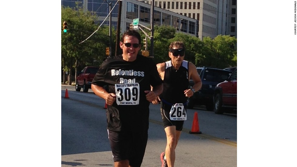 McDonald, left, has since competed in a variety of events, including 5K and 10K runs, a half-marathon, a duathlon and a sprint triathlon.