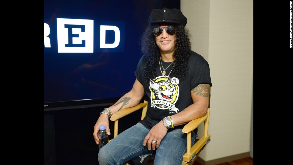 Former Guns N' Roses guitarist Slash appears at the WIRED Cafe on July 18.