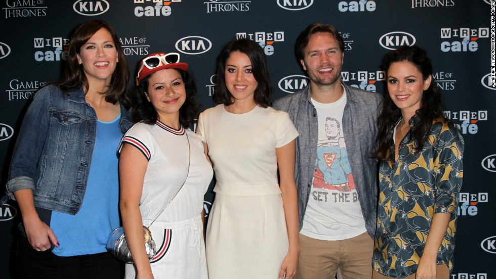"Director/writer Maggie Carey, left and cast of ""The To Do List"" Alia Shawkat, Aubrey Plaza, Johnny Simmons, and Rachel Bilson at the WIRED Cafe on July 18. The movie will be released on July 26."