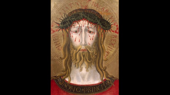 A forlorn Jesus is shown here crowned with thorns in a painting by Benedetto Bonfigli.