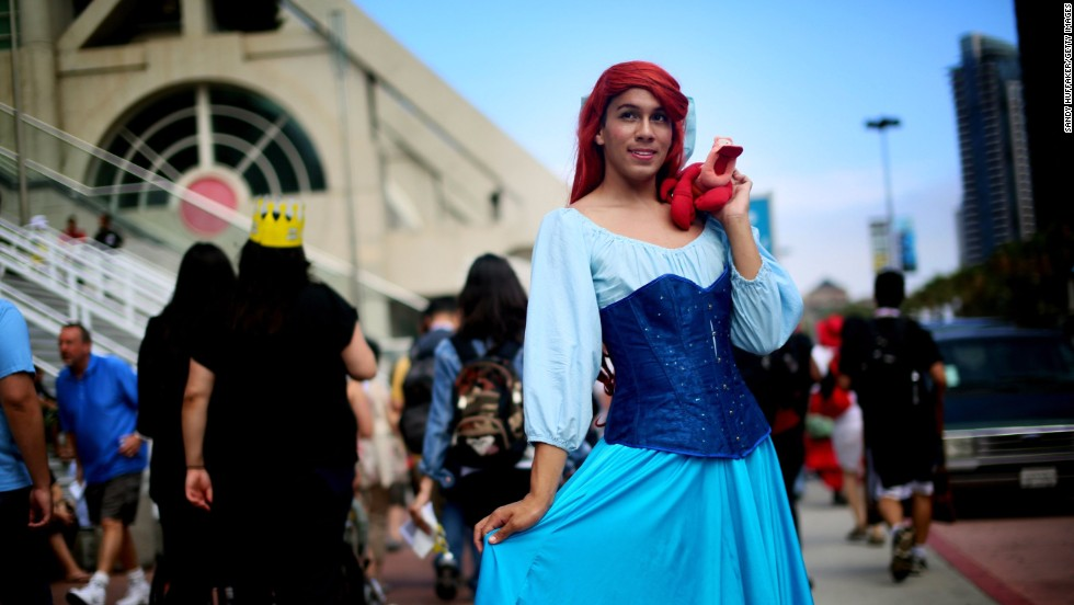 "Gabriel Rivera shows off a costume based on Ariel from  Disney's ""The Little Mermaid."""