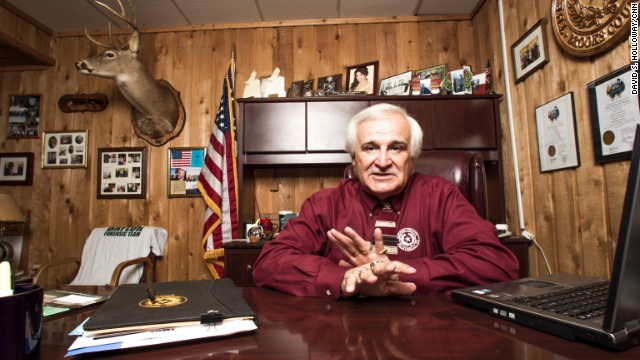 Brooks County Judge Raul Ramirez in his private office in the  town of Falfurrias, Texas.