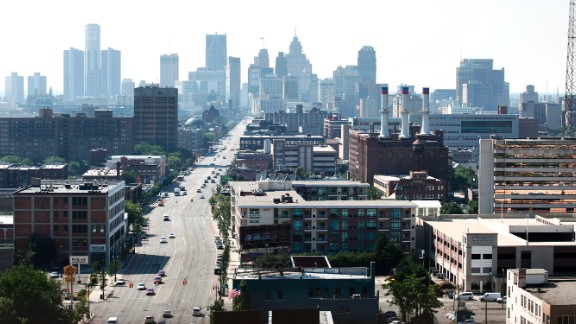 A view of downtown Detroit, looking south on Woodward Avenue. The Rust Belt city