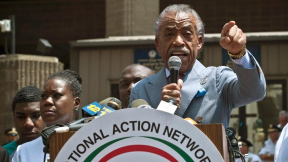 The Rev. Al Sharpton speaks to the crowd during the rally in New York City on July 20.