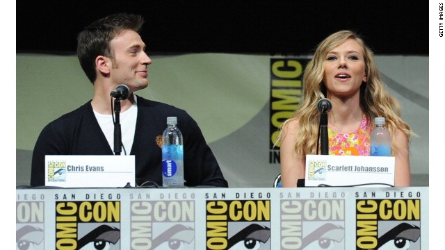 Chris Evans and Scarlett Johansson attend Comic-Con 2013 in San Diego.