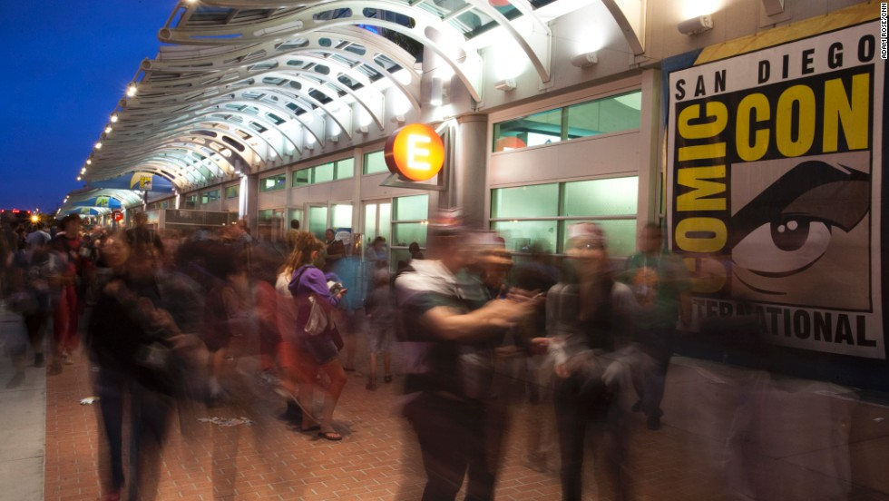 A picture made using a long exposure shows people outside of the San Diego Convention Center on Saturday, July 20.