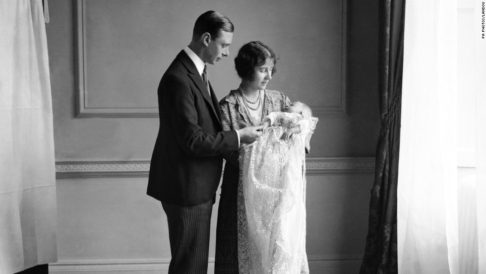 The future King George VI and Queen Mother with their daughter Elizabeth, now queen, at her christening in May 1926.