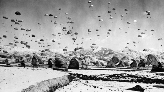 The 187th U.S. Airborne Regimental Combat Team conducts a practice jump in South Korea, circa 1951.