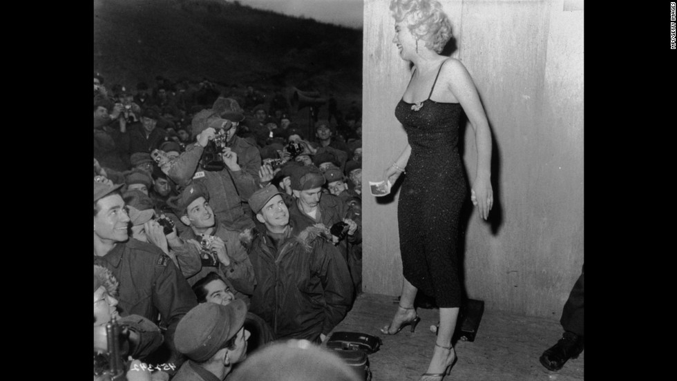 Actress Marilyn Monroe Entertains Troops Circa 1952