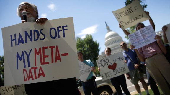 Demonstrators gathered in Washington D.C. to protest the National Security Agency domestic spying programs.