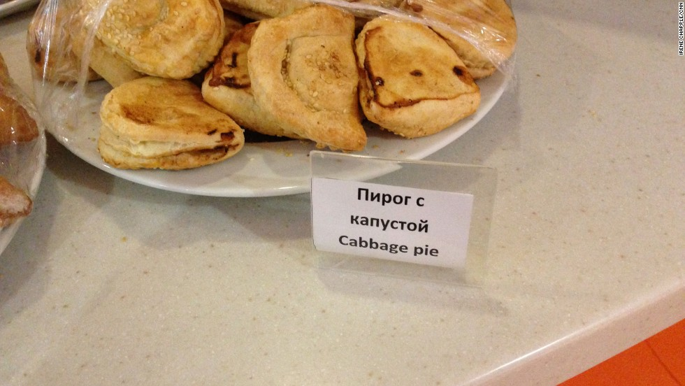 The food on offer in Galaktika: sweets, and plenty of pies in rather Russian-sounding flavors including cabbage, meat, spinach, cottage cheese, mushroom and cherry.
