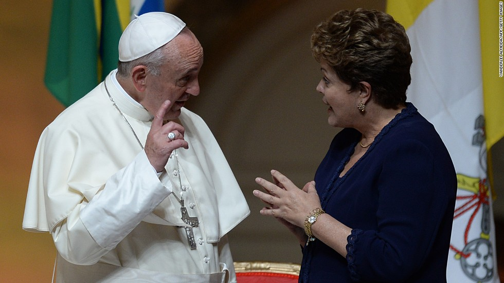 Pope Francis talks with Brazilian President Dilma Rousseff during a welcoming ceremony at the Guanabara Palace in Rio de Janeiro on Monday, July 22. The pope began his first apostolic visit Monday in Brazil, home to the world's largest Catholic population.