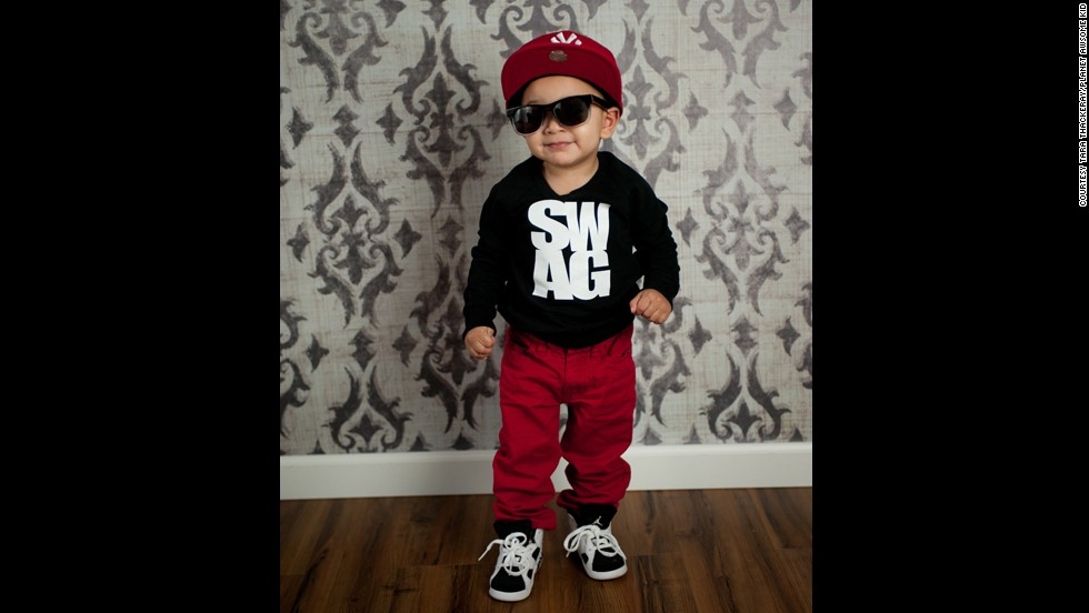 "Tara Thackeray took this photo of the quintessential kid with swagger -- even wearing a ""swag"" T-shirt."