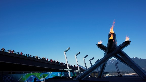 Canada is the happiest North American country. Pictured here is the Olympic cauldron in Vancouver.