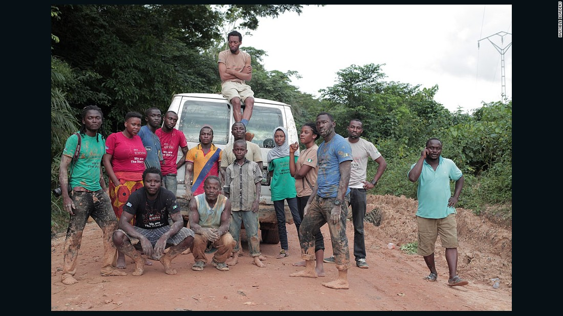 "Last year, the team spent four days in the mud trying to make it out of a neglected road near the Cameroonian and Nigerian border. ""Invisible Borders is about transcending limitations, therefore we will make a road where there is no road,"" says the team's founder Emeka Okereke (middle)."