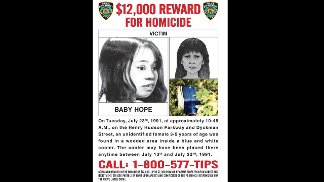 "The body of ""Baby Hope"" was found in a picnic cooler in a wooded area near the Henry Hudson Parkway on July 23, 1991."