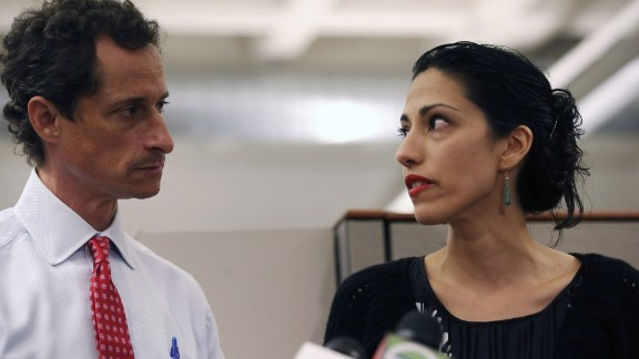 Huma Abedin, wife of Anthony Weiner, speaks during a press conference on July 23, 2013, in New York City.