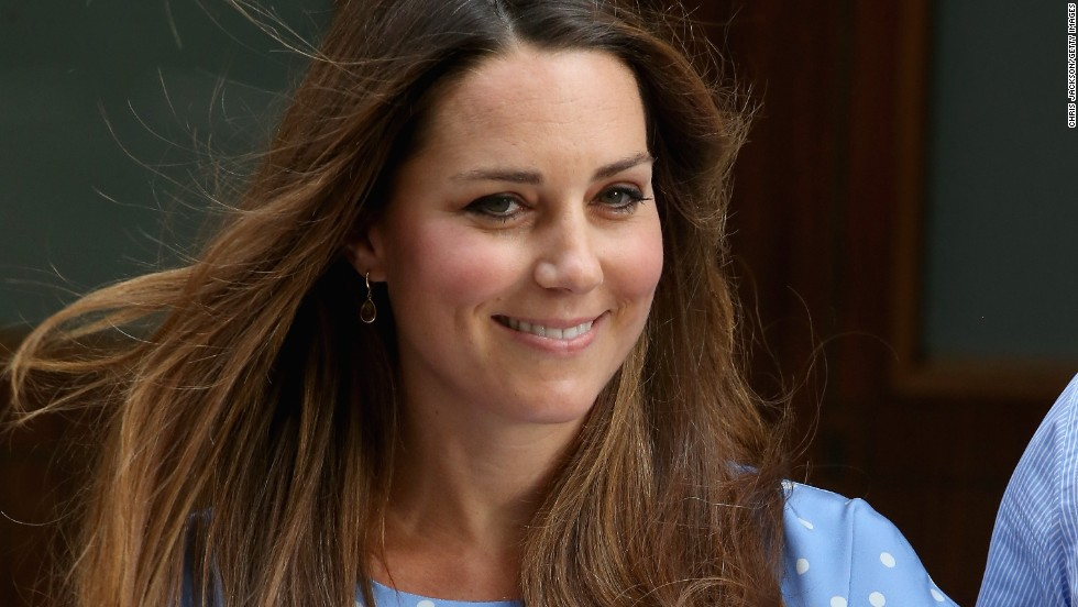 Catherine, Duchess of Cambridge, leaves St Mary's Hospital on in London, England with her newborn son.