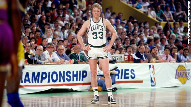 BOSTON - JUNE 9:  Larry Bird #33 of the Boston Celtics stands on the court during Game Six of the 1985 NBA Finals against against the Los Angeles Lakers at the Boston Garden on June 9, 1985 in Boston, Massachusetts. The Lakers defeated the Celtics 111-100 and the series 4-2 to win the NBA Championship. NOTE TO USER: User expressly acknowledges that, by downloading and or using this photograph, User is consenting to the terms and conditions of the Getty Images License agreement. Mandatory Copyright Notice: Copyright 1985 NBAE (Photo by Dick Raphael/NBAE via Getty Images)
