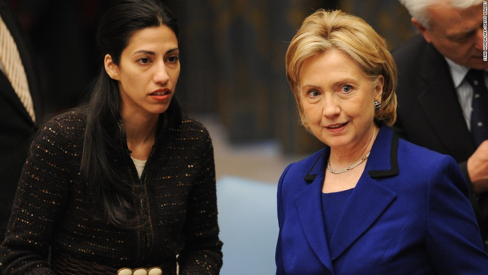Clinton speaks with Abedin before chairing the Security Council Session on Women, Peace and Security on September 30, 2009. at U.N. headquarters in New York.