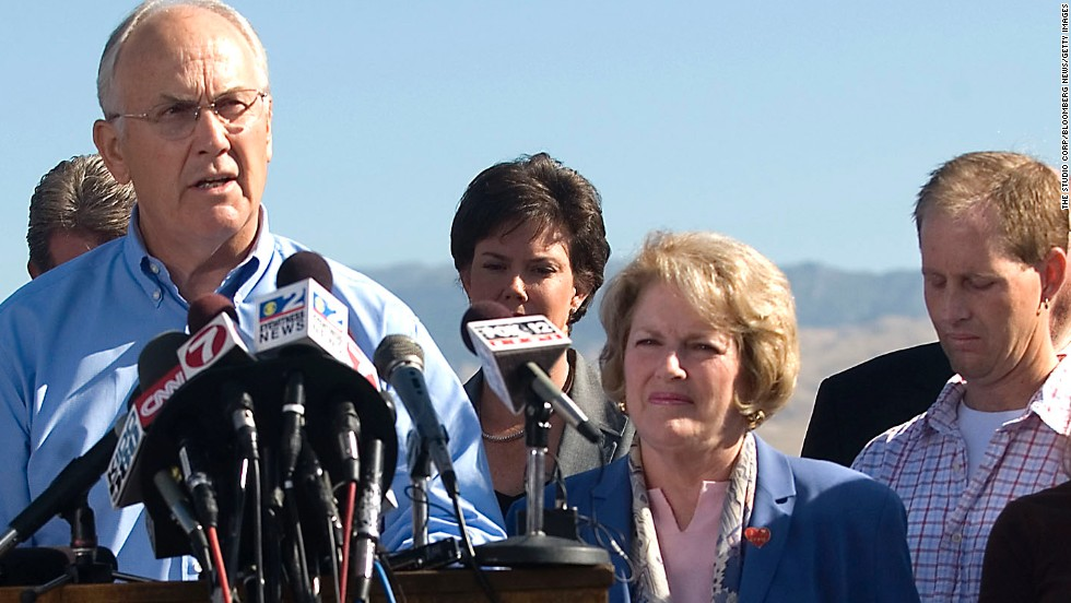 Former Idaho Sen. Larry Craig was arrested in June 2007 in a men's restroom at the Minneapolis-St. Paul International Airport on charges of lewd conduct, but later pled guilty to a misdemeanor charge of disorderly conduct. His wife, Suzanne Thompson, was at his side during the news conference in September 2007 when he announced his intention to resign. He later changed his mind and served out his term.