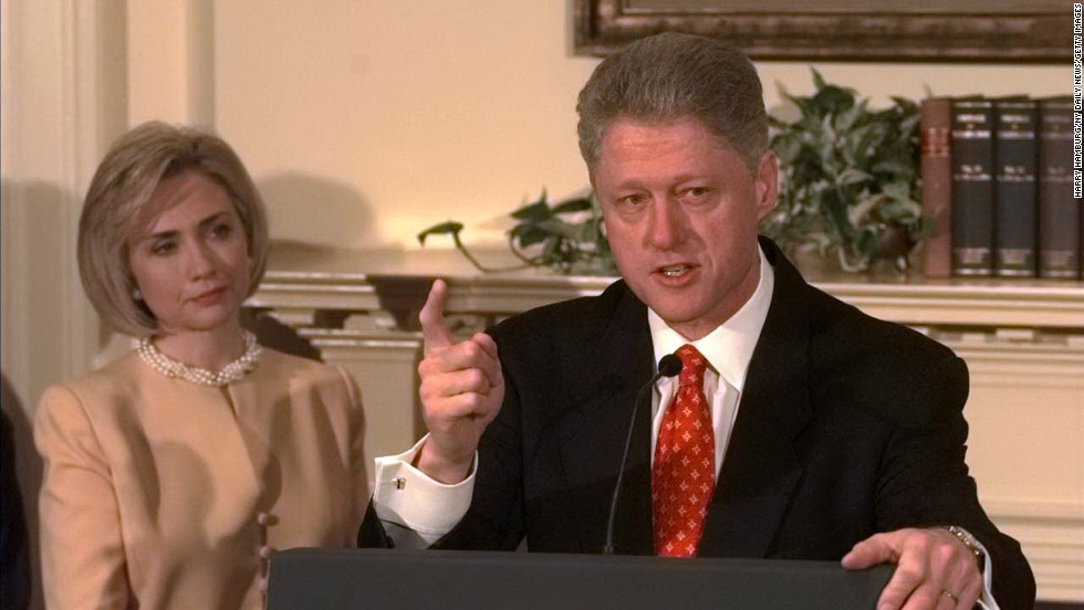 "Hillary Clinton was with her husband, former President Bill Clinton, in January 1998 when he denied having ""sexual relations with that woman, Miss Lewinsky."" However, when he later admitted in August 1998 that the relationship with the intern was ""not appropriate,"" she was not with him and later was chilly toward him during a walk to Marine One."
