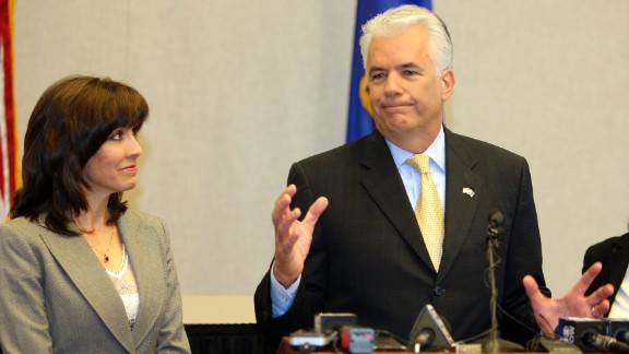 Former Nevada Sen. John Ensign was embroiled in allegations of an extramarital affair in 2007 and 2008, and his wife, Darlene, who initially stood with him when he announced he would not seek re-election, was not by his side as the drama unfolded. Hit with multiple investigations, Ensign resigned in 2011.