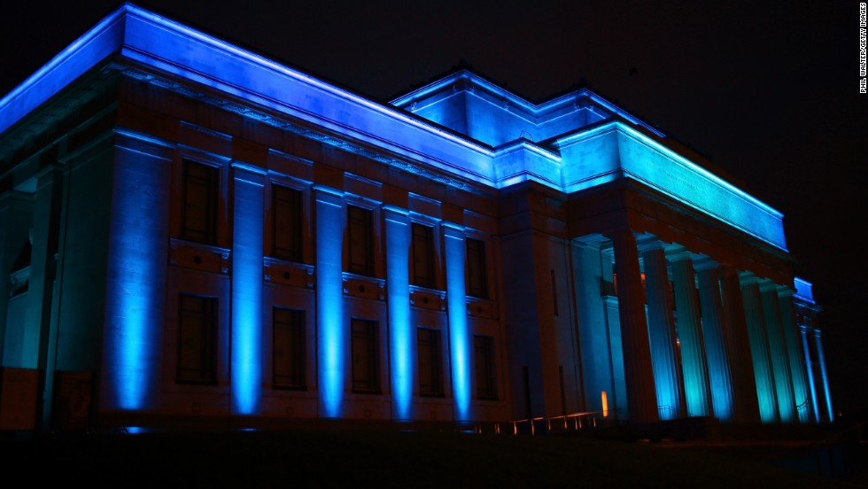 "The Auckland War Memorial Museum in New Zealand is lit blue on Wednesday, July 24, to celebrate the birth of a baby boy to Prince William, the Duke of Cambridge, and Catherine, the Duchess of Cambridge. Catherine <a href=""http://www.cnn.com/2013/07/22/world/europe/uk-royal-baby/index.html"">gave birth to the boy at 4:24 p.m.</a> July 22. He weighed 8 pounds, 6 ounces. A name has not been announced for the child, who is third in line to the British throne."