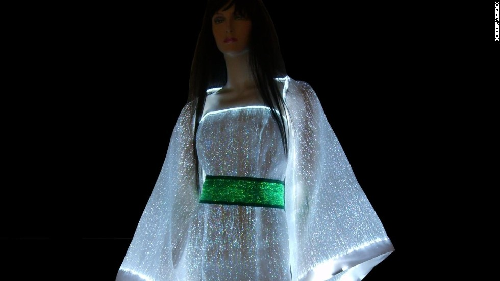 "Glow in the dark with the <a href=""http://www.lumigram.com/catalog/product_info.php?products_id=112"" target=""_blank"">LumiDress.</a> Made up of ultra-thin optical fibers woven together with other synthetic fiber this dress will light up the night."