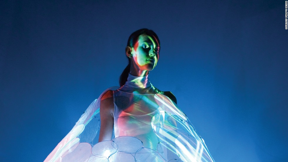 "This concept dress called Bubelle by <a href=""http://www.design.philips.com/philips/sites/philipsdesign/about/design/designportfolio/design_futures/dresses.page"" target=""_blank"">Philip's Design </a>interacts with and predicts the wearer's emotional state by changing colors. A beautiful white can turn into a relaxed blue. Philip's dresses are made from high-tech materials and are still in the concept phase."