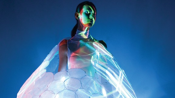 This concept dress called Bubelle by Philip's Design interacts with and predicts the wearer's emotional state by changing colors. A beautiful white can turn into a relaxed blue. Philip's dresses are made from high-tech materials and are still in the concept phase.