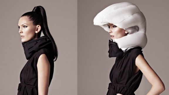 """It's a love/hate thing. The cycling helmet can save your life, but it doesn't look good and tends to ruin your hair. Thankfully the future offers a solution -- the Hövding. A Swedish creation, the Hövding is an """"airbag for cyclists"""". It's worn as a collar and only expands into a full helmet if you have an accident."""