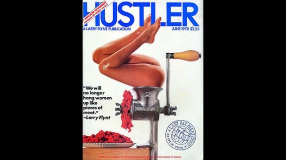 "A woman in a meat grinder was on the cover of Hustler in June 1978 alongside a quote from publisher Larry Flynt: ""We will no longer hang women up like pieces of meat."" It was his response to feminists' claim that women in pornography are treated like pieces of meat, and the gory cover led to more nationwide protests against the magazine."