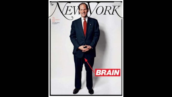 "New York magazine featured Eliot Spitzer on its cover in March 2008, a month after he resigned as governor, with the word ""brain"" pointing to his crotch. Spitzer was stopped in his political tracks when his liaisons with high-paid escort Ashley Dupre surfaced, leading to his resignation. The magazine devoted three articles to dissecting his downfall."